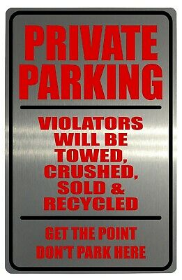 Brushed Silver Personalised Number Private Parking Aluminium Metal Sign Plaque House 23x15cm