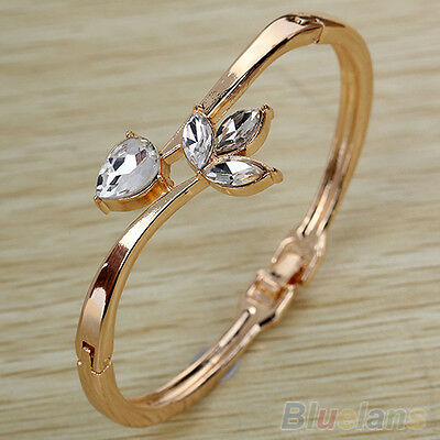 New Vogue Women Rose Gold Plated Rhinestone Flower Slender Cuff Bangle Bracelet