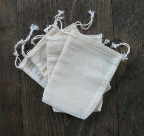 1000 Mini Cotton Muslin Drawstring Bags Bath Soap Herbs