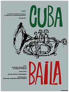 1017-Cuban-movie-Poster-Cuba-Baila-Dance-Jazz-Trumpet-Musical-interior-design