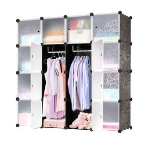 Kleiderschrank-Regalsystem-Garderobe-Steckregal-Standregal-Kunststoff-Schwarz