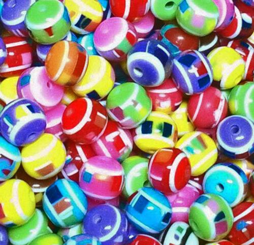 1 mm Kinderperlen 30 super schöne Edelresin Perlen bunter Mix ca 10 mm Loch ca
