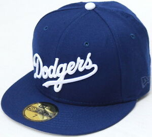 MLB Los Angeles Dodgers Wordmark Script New Era 59Fifty Fitted Hat ... dea24472dfd