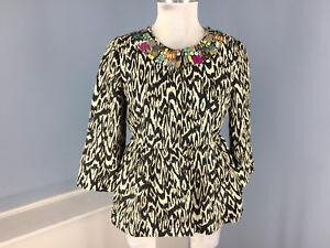 Jacket Nanette Peplum Anthro Embellished Blazer 4 Ikat 3 Lepore S Linen 6 Slv FYnAqYfr
