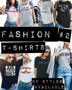 Details about Womens FUNNY FASHION SLOGAN T-Shirts Ladies Hipster Tumblr  Slang Swag Gift Top