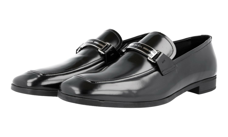 LUSSO Scarpe Prada Business LOGO SPANGE loafer 2dc075 Nero Nuovo 6,5 40,5 41