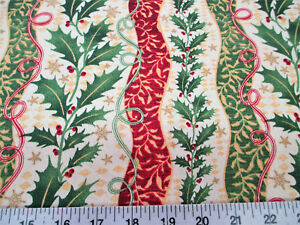Discount-Fabric-Quilting-Cotton-Christmas-Holly-Red-and-Green-Floral-Stripes-T18