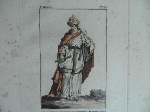 Incisione Colori Costume Dei Primi Ministri Di L Egipte Janinet XVIII 1788