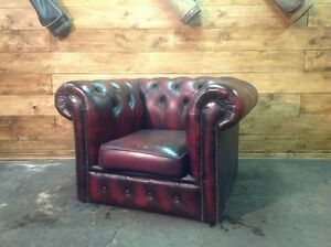 Poltrona chesterfield club vintage originale inglese in pelle