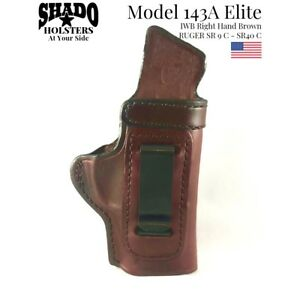 SHADO-Leather-Holster-USA-Elite-Model-143A-Right-Hand-Brown-IWB-Ruger-SR9C-SR40C