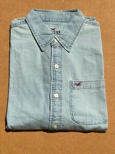 Hollister-Men-039-s-Western-Denim-Shirt-Light-Blue-Washed-Short-Sleeves-S-to-XL