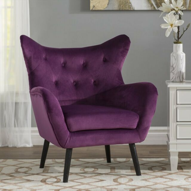 Brilliant Modern Mid Century Accent Side Wingback Chair Velvet Fabric Tufted Retro Purple Gamerscity Chair Design For Home Gamerscityorg