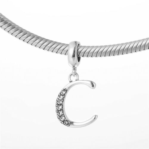 SILVER Jewellery Alphabet Charms for Bracelet Letter /'C/' Initial Pendant Charm