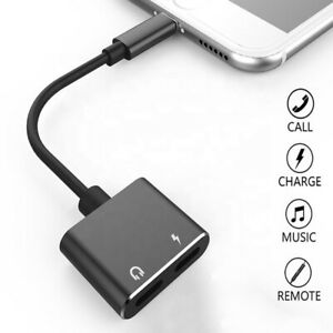 Black Headphone Adapter for iPhone, 2 in 1 Lightning Audio + Charge