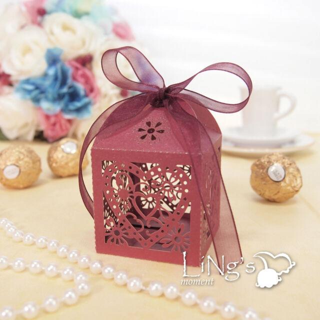 5cm Heart Laser Cut Favour Pearlised Boxes & Ribbon Ties Wedding Banquet Colours