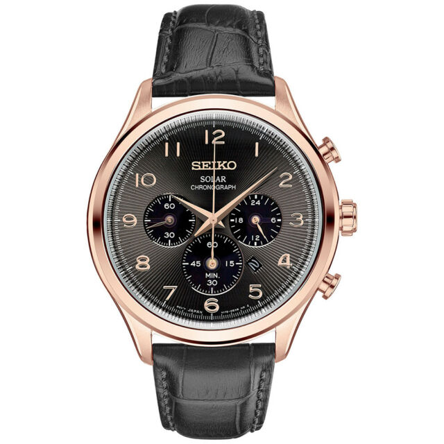 3931748cf Seiko SSC566 Solar Chronograph Men's Watch Rose Gold Black Leather Strap