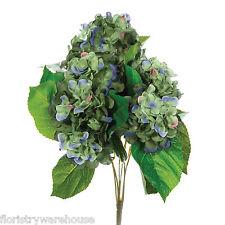 Artificial silk Light Blue Hydrangea bush 42cm for wedding flowers or window box