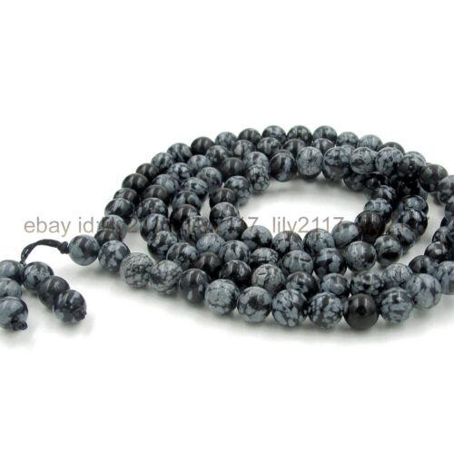 8mm Tibetan Buddhism 108 Snowflake obsidian Prayer Beads Mantra Mala Necklaces
