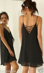 Tiered-Chiffon-Criss-Cross-Back-Dress-S-8-10-V-Neck-Cami-Top-Black-Lined-Party