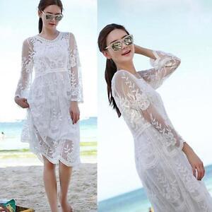 Crochet-Mesh-Lace-Gyspy-Beach-White-Swimsuit-Bikini-Cover-Up-Dress-Kaftan-fger