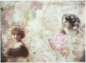 Rice Paper for Decoupage Decopatch Scrapbook Craft Sheet Vintage Winter Lady