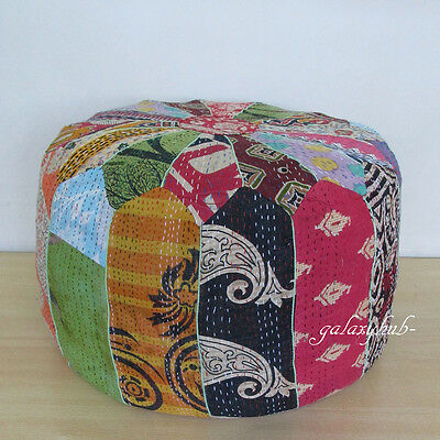 Vintage Indian Pouf Ottoman Patchwork Foot Stool Kantha Small Pouf Classy Indian Pouf Covers