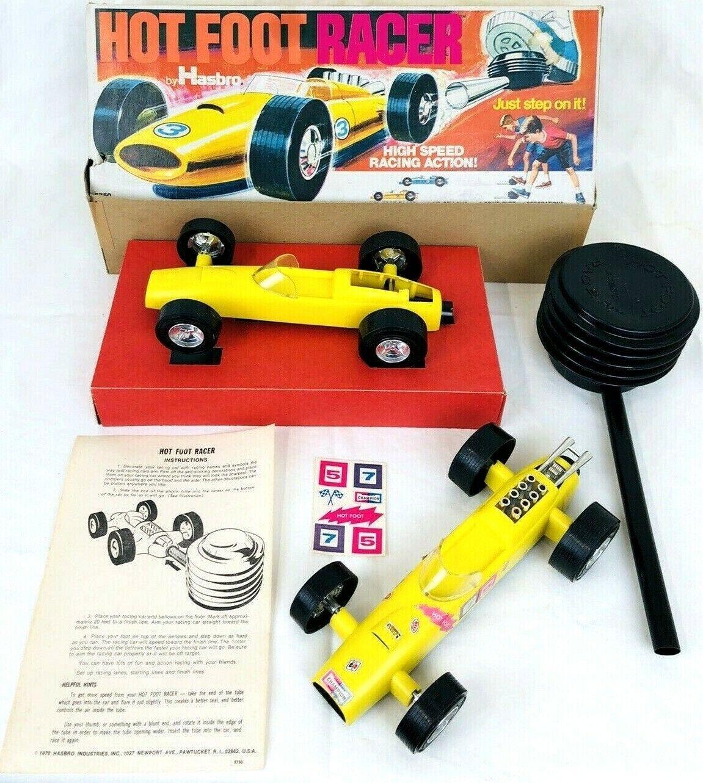 Vintage 1970 Hasbro caliente corrojoor de Pie Plástico Coche de Juguete Amarillo con caja 5750 piezas adicionales