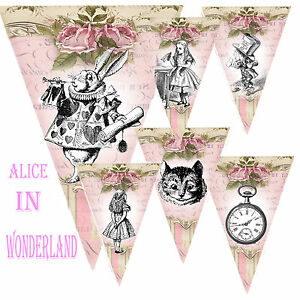 Alice-In-Wonderland-Pink-Buntings-Garlands-Party-decoration-Banners-All-ocassion