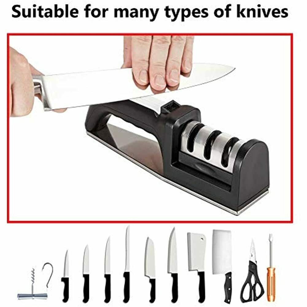 4 in 1 Handle Sharpener Kitchen Tool 3 Stage Coarse and Grinding Fine N4U3