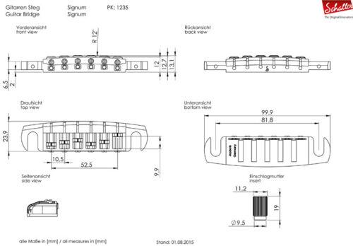 Satin Chrome 12350300 Genuine Schaller Germany Signum Wrap Around Bridge
