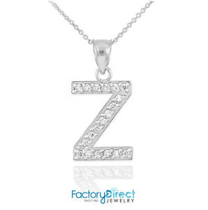 10k 14k white gold letter z diamond initial pendant necklace ebay image is loading 10k 14k white gold letter 034 z 034 mozeypictures Image collections