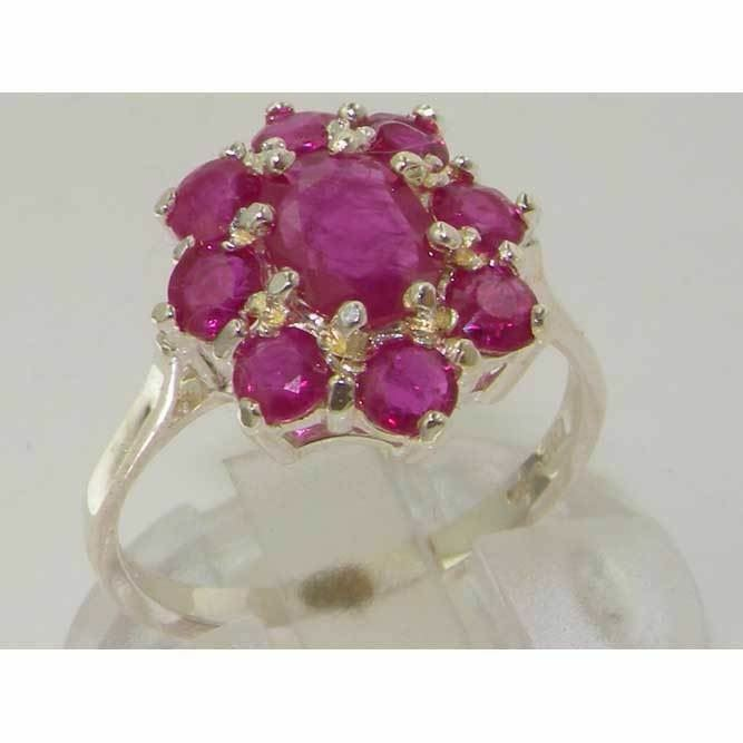 10ct White gold Natural Ruby Womens Cluster Ring - Sizes J to Z