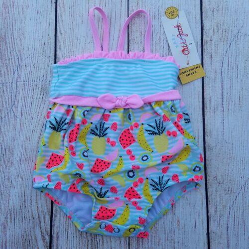 Cat /& Jack Baby Girl/'s One Piece Swimsuit Size 3-6 M Nylon Fruit Ruffle UPF50+