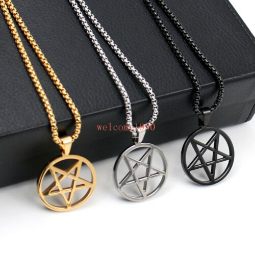 "Acier Inoxydable 16-32/"" inversé Pentagram Satan culte Pendentif Rolo COLLIER"