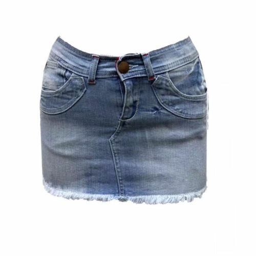 New Womens Ladies Denim Freyed Hem Bodycon Mini Skirt Size UK 8-14
