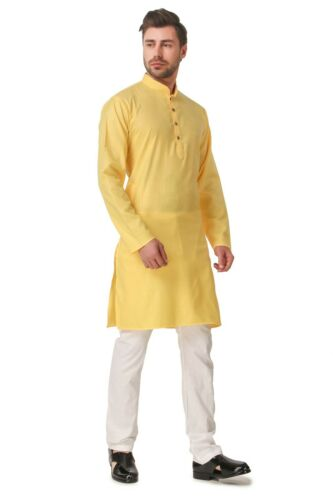 Men/'s  Indian Cotton Plain Short  Kurta Pajama AN530