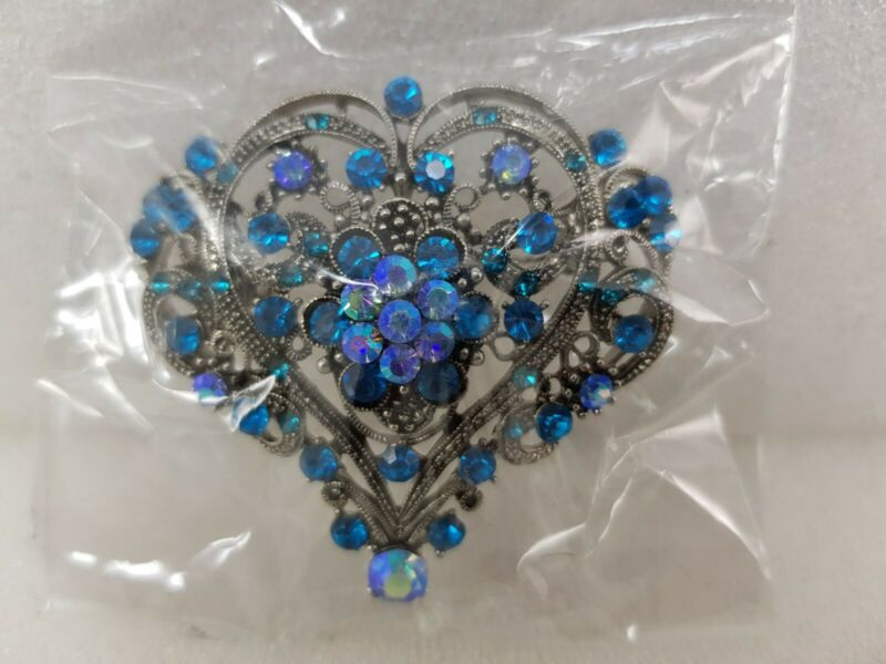 New Silver Heart Diamante Pin Brooch Wedding Party *free Uk Shipping