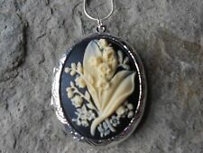(LOCKET) LILY OF THE VALLEY SILVER PLATED LOCKET (CREAM ON BLACK) -- wedding