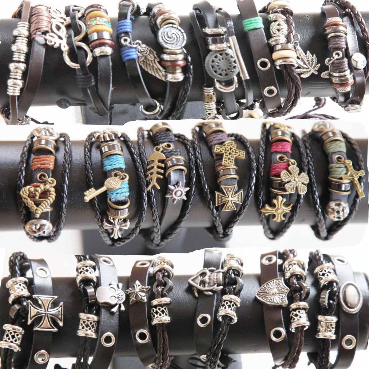 Wholesale Lots 36pcs Mixed lots Genuine Leather Bracelet Cuff Punk Tribal Ethnic