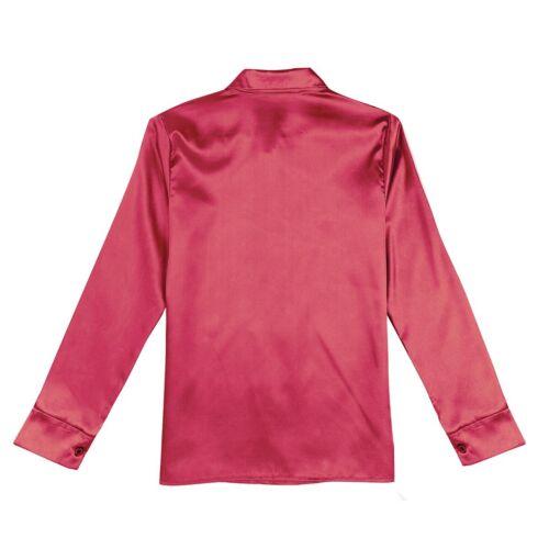 Women/'s Long Sleeve Casual Satin Blouse Turn-Down Collar Button Down Shirts Top