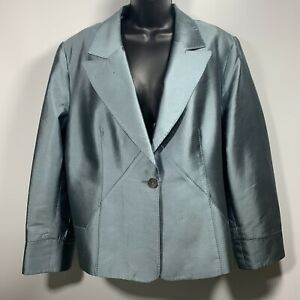 Moshita-Couture-Womans-Silk-Wool-Blend-Blazer-Plus-Size-22-Aqua-Shimmer