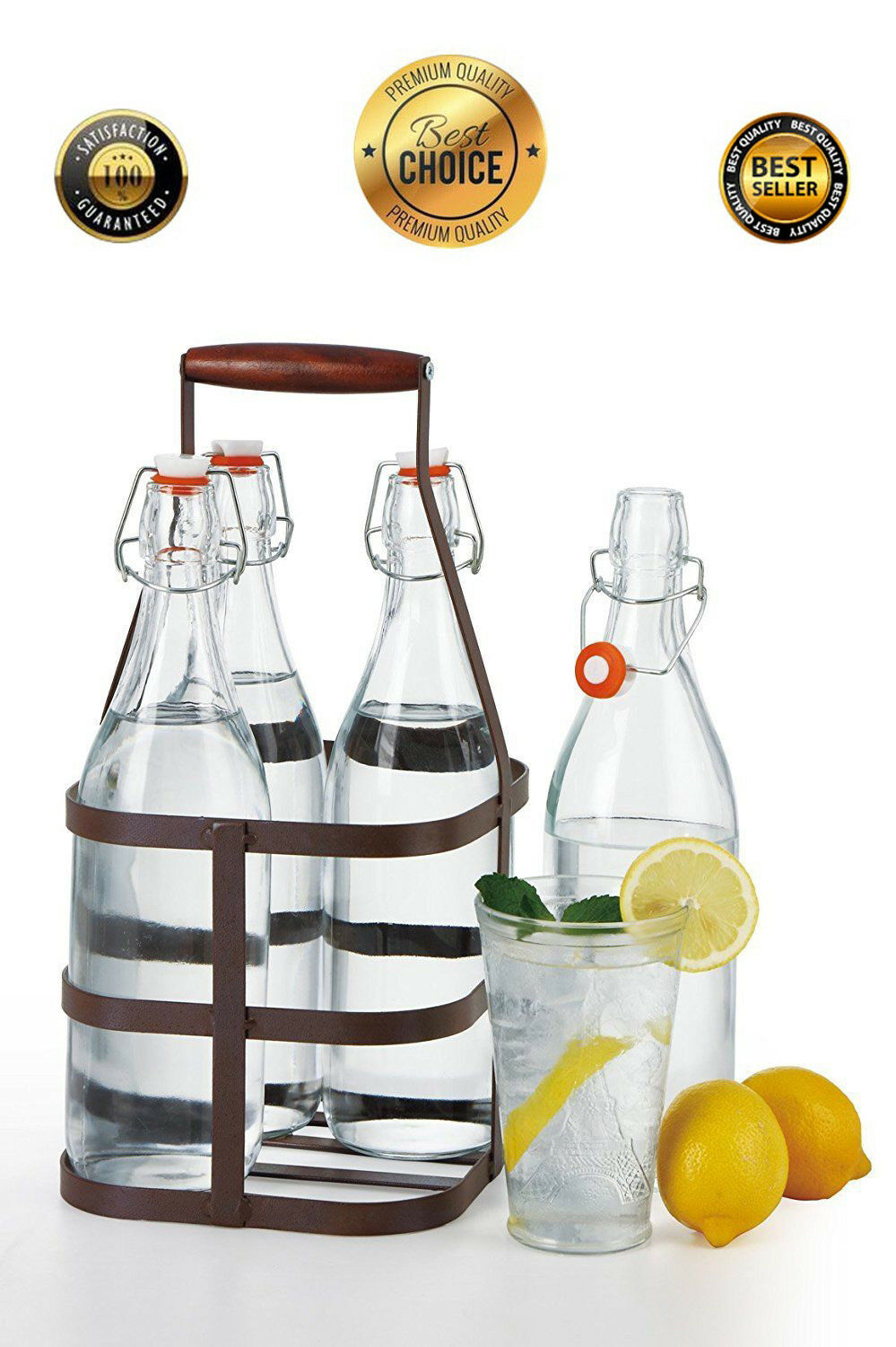 32 oz EZ Cap Vintage Clear Home Brewing Beer Oil Glass Bottles, Case of 4 +CADDY