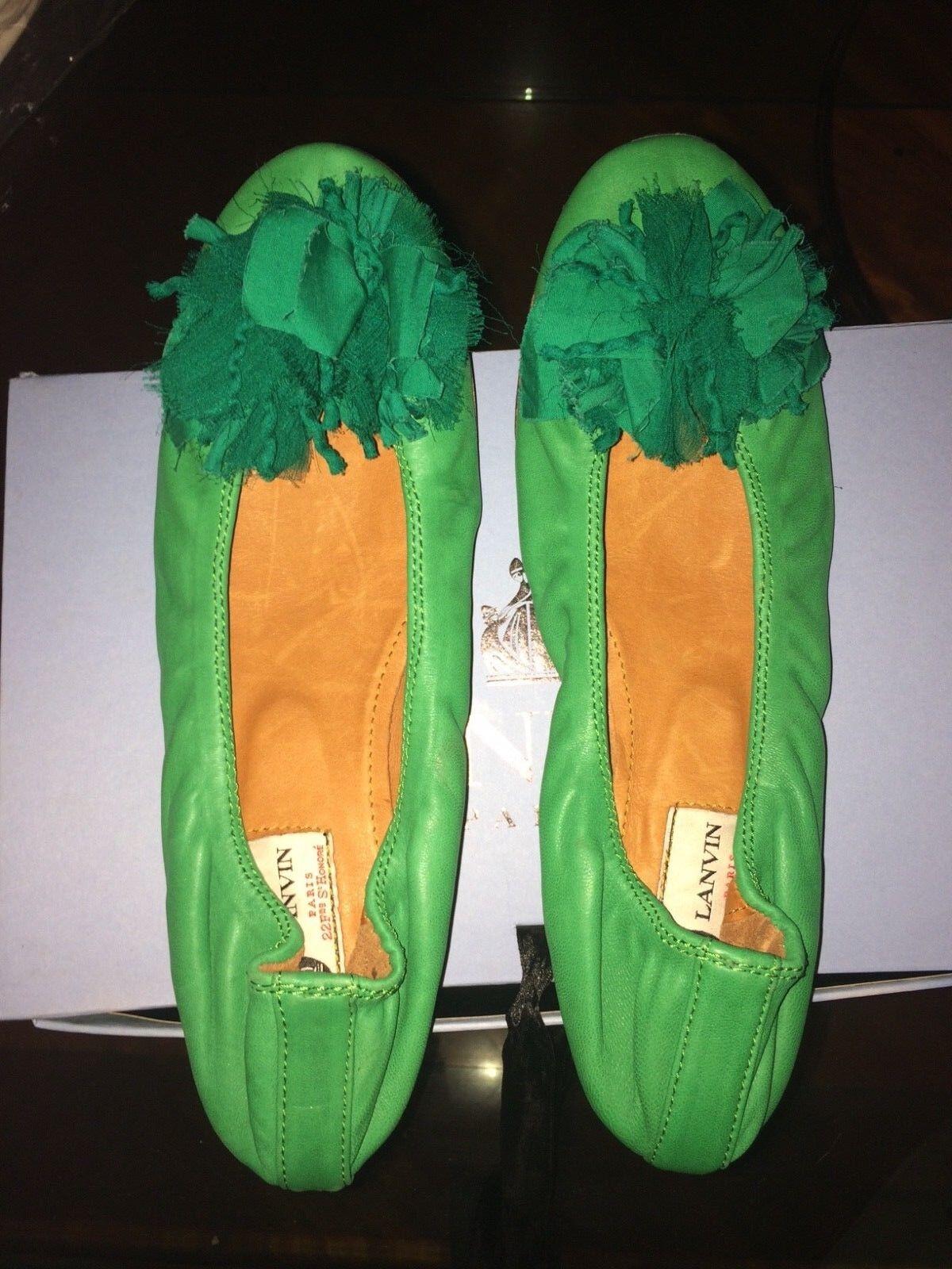 LANVIN SUPER SOFT LEATHER VIVID VIVID VIVID GREEN WEDGED FAMOUS BALLERINA FLATS   AMAZING 2f8a57