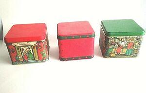 Set of Three 3 Potpourri Press Green//Red Christmas Tree Nested Tins