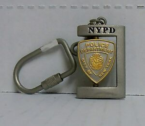 New York, NYPD, Rectangle Metal Spinner Keychain Pewter Finish, BRAND NEW
