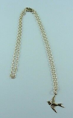 Bird Pendant Necklace Chain 14k Gold Filled Quality Stamped