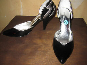 9dc3176d6 Image is loading Sigerson-Morrison-Target-patent-black-lightning-heels-shoes -