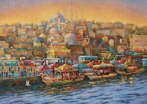 A1-Istanbul-Turkey-Poster-Art-Print-60-x-90cm-180gsm-Travel-Boats-Gift-12575