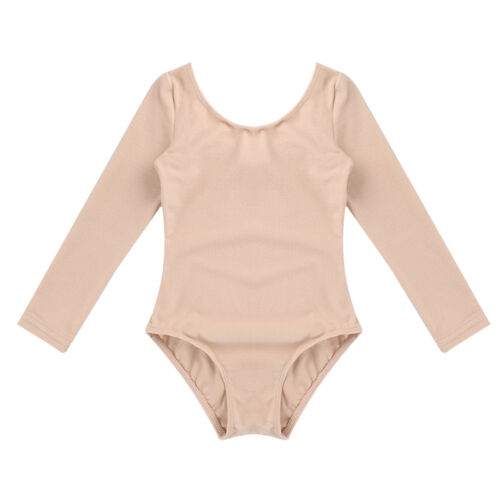 Girls Long Sleeve Ballet Dance Dress Kids Gymnastics Leotards Tutu Skirt Costume