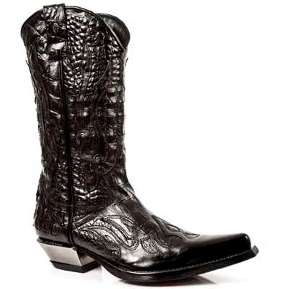 Newrock 7921-S1 New Rock Leder Westen Schwarz Flamme Cowboy Unisex Leder Stiefel